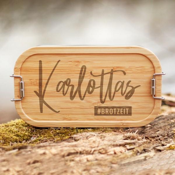 Lunchbox mit Bambusdeckel #Hashtag mit Namen - Zero Waste