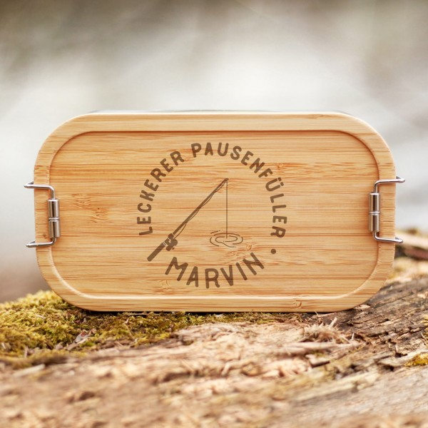 Lunchbox mit Bambusdeckel Angel am See mit Namen - Zero Waste