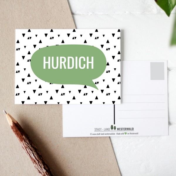 Hurdich - Wäller Mundart auf Westerwälder Postkarte