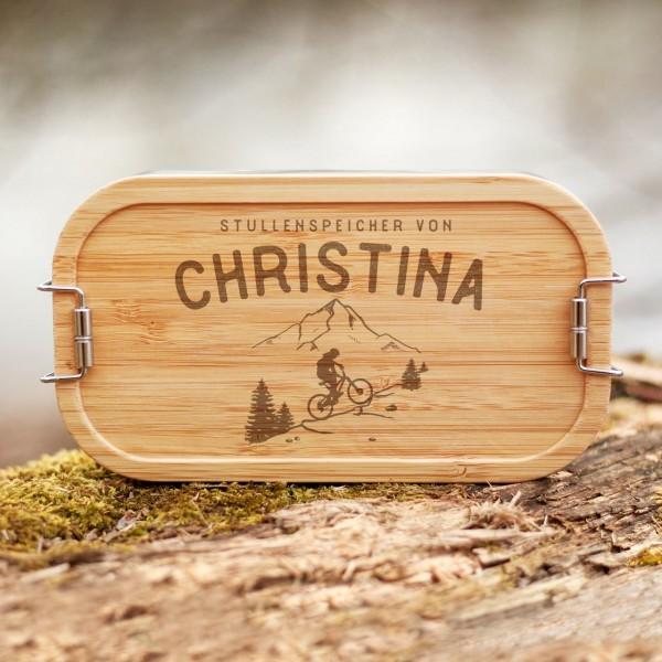 Lunchbox mit Bambusdeckel MTB Bikerin Fahrradfahrerin in den Bergen mit Namen - Zero Waste