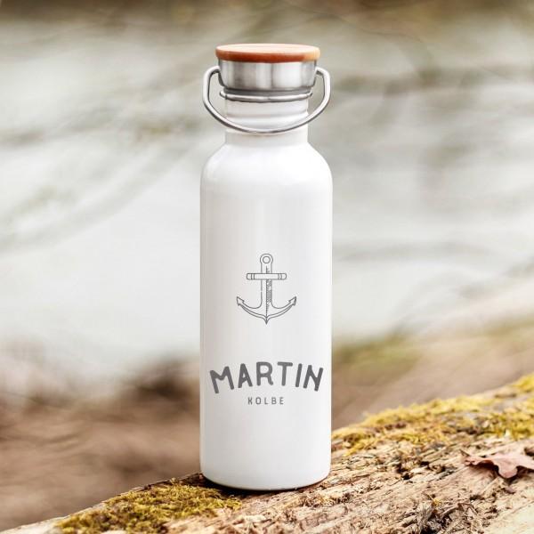 Trinkflasche Edelstahl mit Bambusdeckel Anker Heimathafen Outdoor mit Namen - Zero Waste