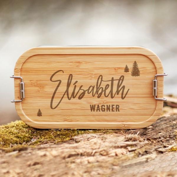Lunchbox mit Bambusdeckel Wald Handlettering mit Namen - Zero Waste