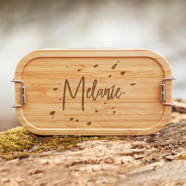 Lunchbox mit Bambusdeckel Klettersteine mit Namen - Zero Waste