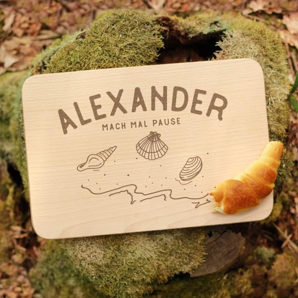 Brettchen Schneidebrett Outdoor Muscheln Meer mit Namen personalisiert