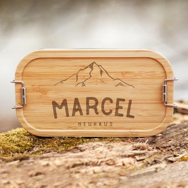 Lunchbox mit Bambusdeckel Berge mit Namen - Zero Waste