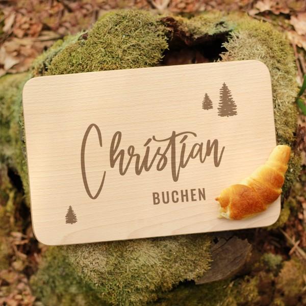 Brettchen Schneidebrett Outdoor Bäume mit Namen personalisiert