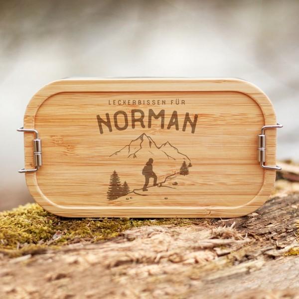 Lunchbox mit Bambusdeckel Wandern Wanderer Berge mit Namen - Zero Waste
