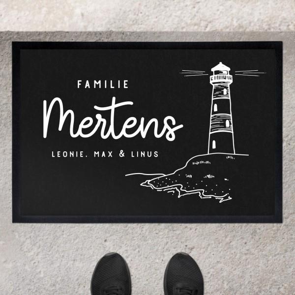 Fußmatte mit Motiv Leuchtturm und Namen personalisiert