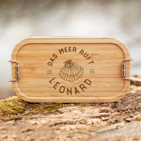Lunchbox mit Bambusdeckel Muschel mit Namen - Zero Waste