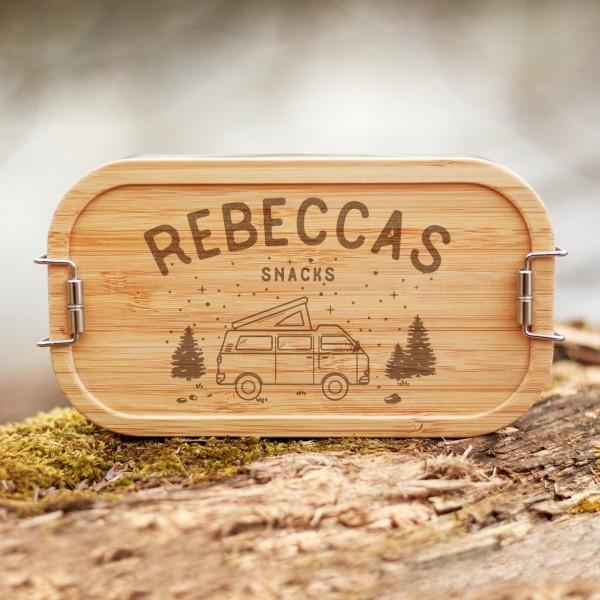 Lunchbox mit Bambusdeckel Caravan Camping mit Namen - Zero Waste