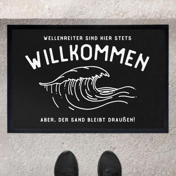 Fußmatte mit Motiv Welle Meer und Namen personalisiert
