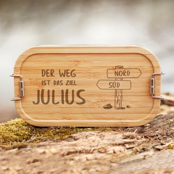 Lunchbox mit Bambusdeckel Wanderrute Wegweiser mit Namen - Zero Waste