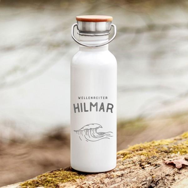 Trinkflasche Edelstahl mit Bambusdeckel Welle Meer Outdoor mit Namen - Zero Waste