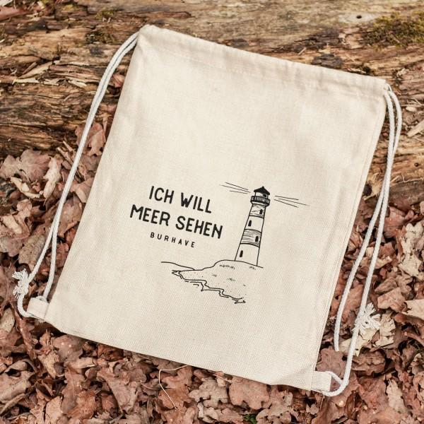 Turnbeutel Sportbeutel Motiv Leuchtturm mit Namen/Text personalisiert