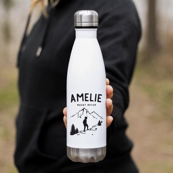 Edelstahl Thermoflasche Wandern Wanderin Hike mit Namen - Zero Waste
