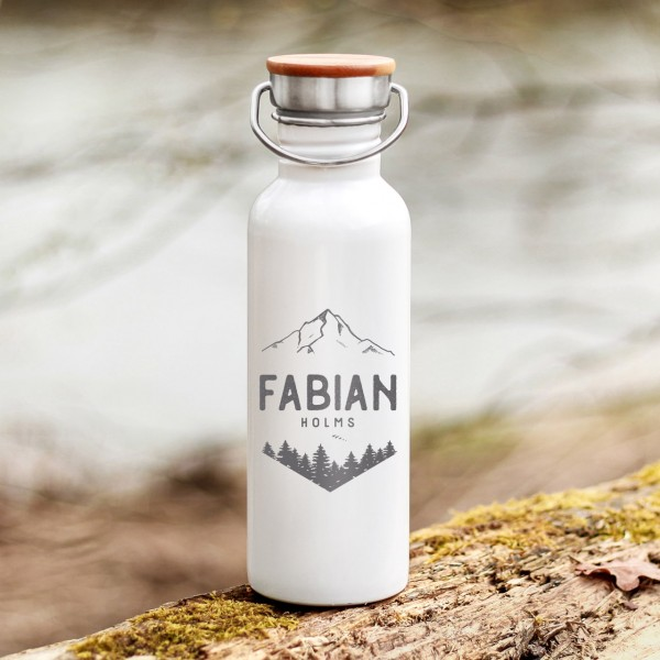 Trinkflasche Edelstahl mit Bambusdeckel Berge und Wälder Outdoor mit Namen - Zero Waste