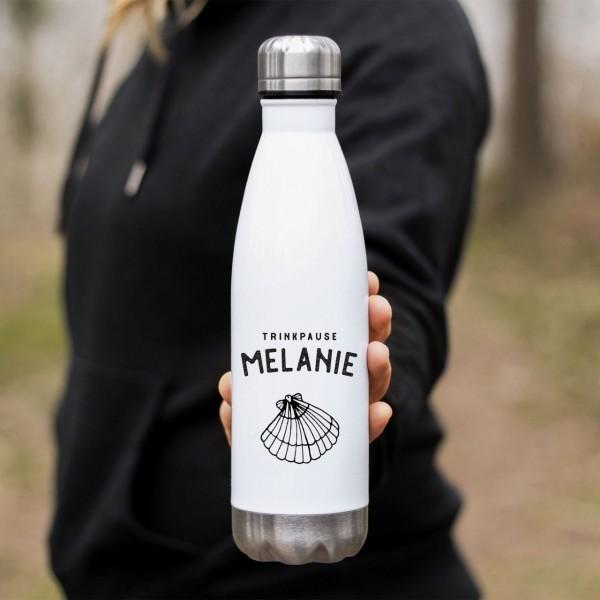 Edelstahl Thermoflasche Muschel mit Namen - Zero Waste
