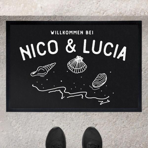 Fußmatte mit Motiv Muscheln und Namen personalisiert