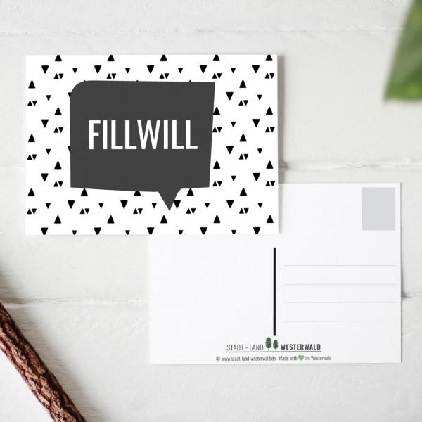 Fillwill - Wäller Mundart auf Westerwälder Postkarte