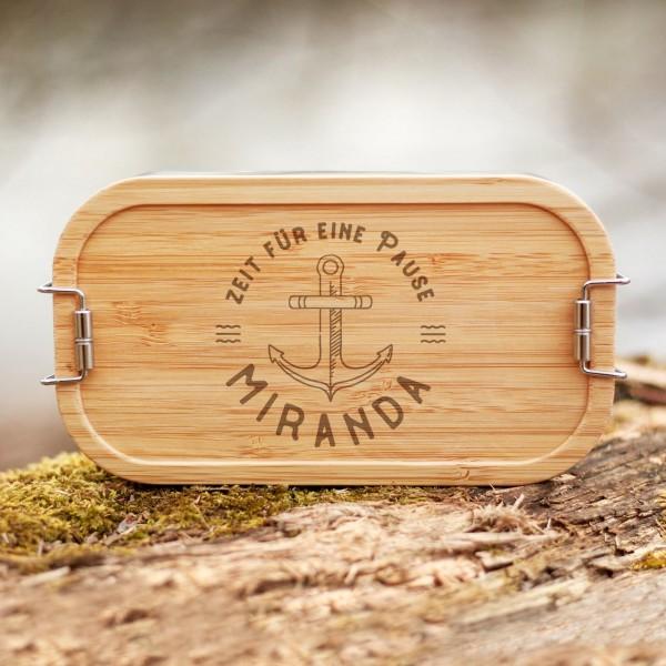 Lunchbox mit Bambusdeckel Anker mit Namen - Zero Waste