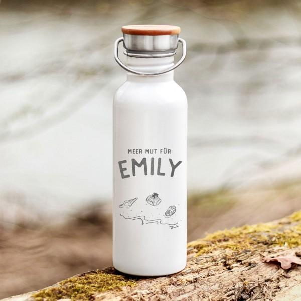 Trinkflasche Edelstahl mit Bambusdeckel Muscheln Meer Outdoor mit Namen - Zero Waste