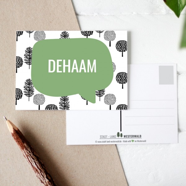 Dehaam - Wäller Mundart auf Westerwälder Postkarte