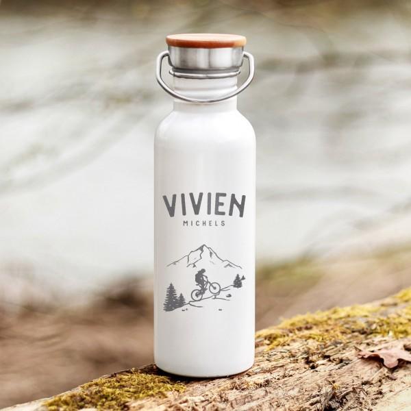 Trinkflasche Edelstahl mit Bambusdeckel MTB Bikerin Fahrradfahrerin Outdoor mit Namen - Zero Waste