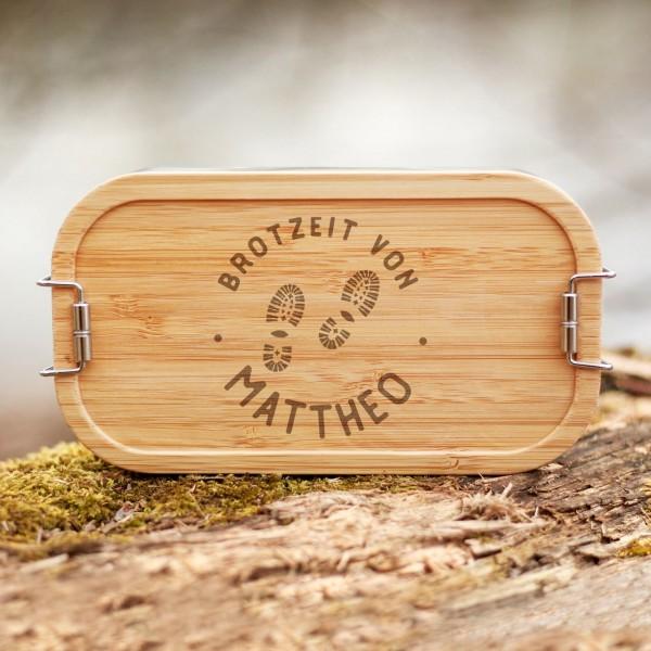 Lunchbox mit Bambusdeckel Wandern mit Namen - Zero Waste