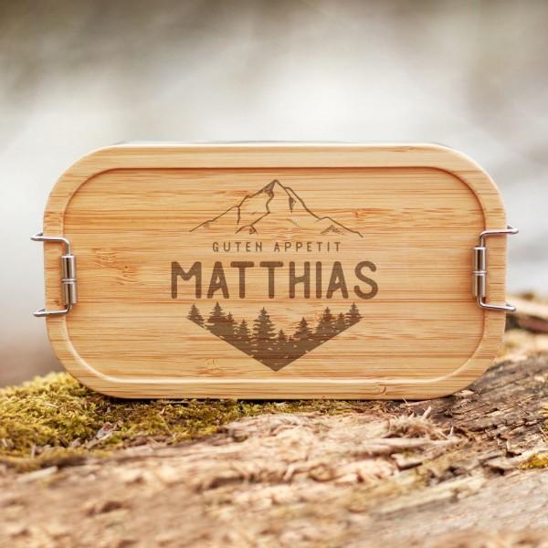 Lunchbox mit Bambusdeckel Berge und Wälder mit Namen - Zero Waste