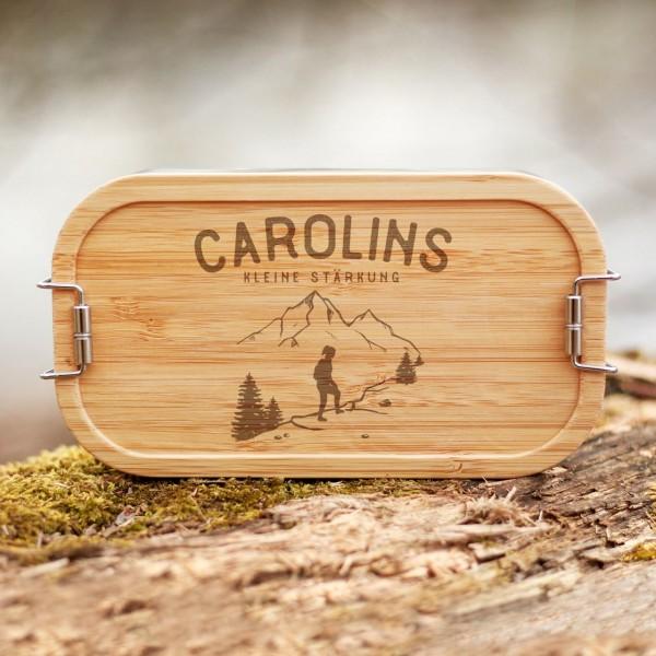 Lunchbox mit Bambusdeckel Wandern Wanderin Berge mit Namen - Zero Waste