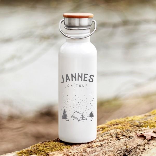 Trinkflasche Edelstahl mit Bambusdeckel Zelten Sternenhimmel Outdoor mit Namen - Zero Waste