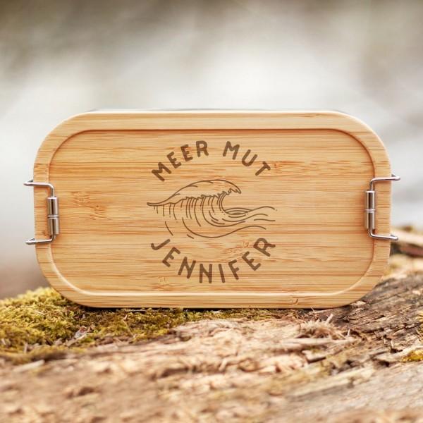 Lunchbox mit Bambusdeckel Welle mit Namen - Zero Waste