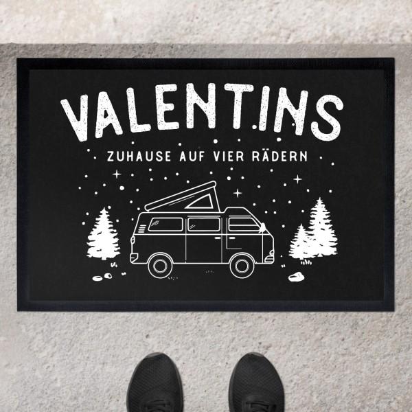 Fußmatte mit Motiv Caravan Camping Sternenhimmel und Namen personalisiert