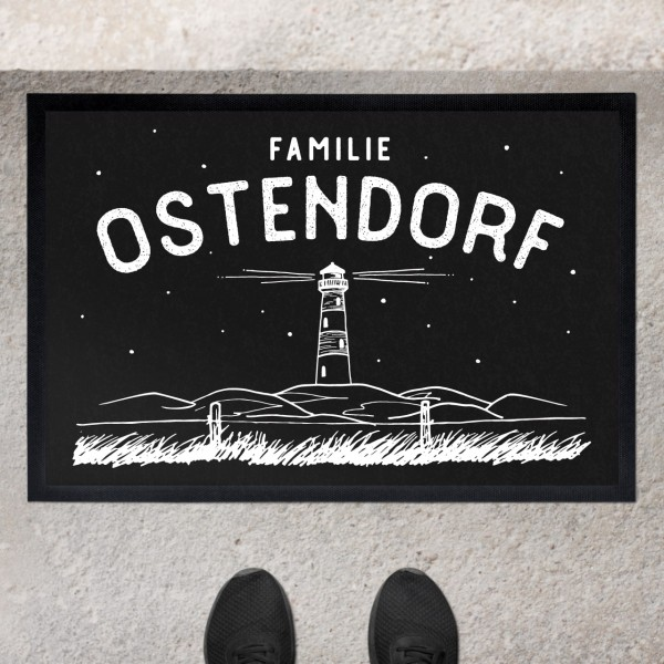 Fußmatte mit Motiv Leuchtturm Düne und Namen personalisiert